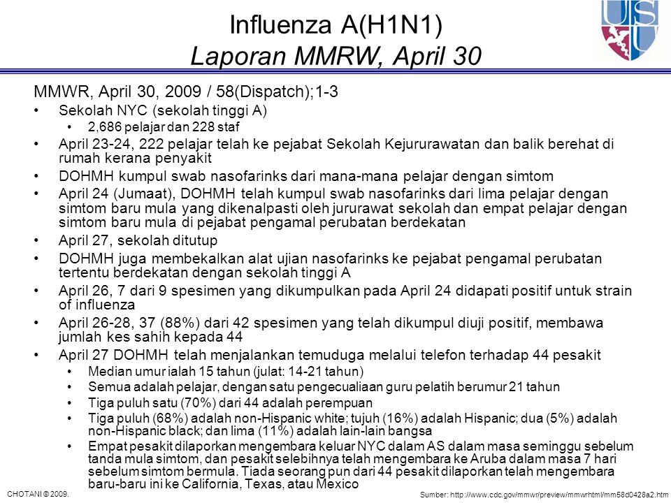 Influenza A(H1N1) Laporan MMRW, April 30