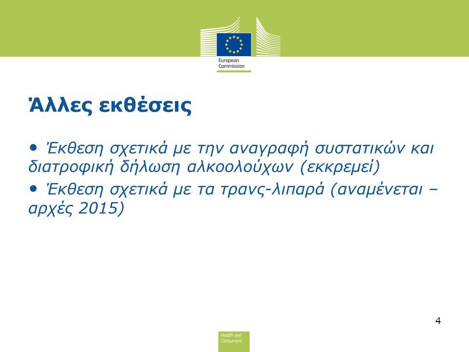 Άλλες εκθέσεις Έκθεση σχετικά με την αναγραφή συστατικών και διατροφική δήλωση αλκοολούχων (εκκρεμεί)