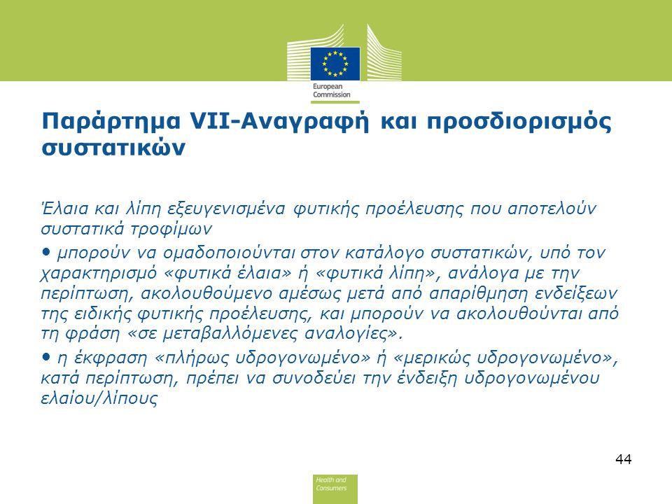 Παράρτημα VII-Αναγραφή και προσδιορισμός συστατικών