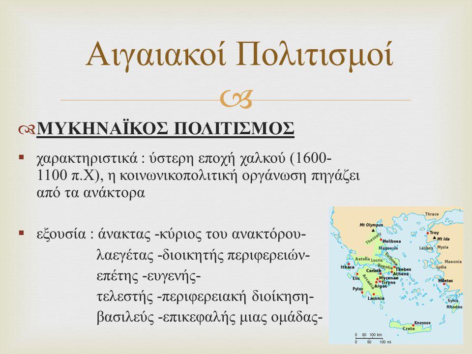 Αιγαιακοί Πολιτισμοί ΜΥΚΗΝΑΪΚΟΣ ΠΟΛΙΤΙΣΜΟΣ