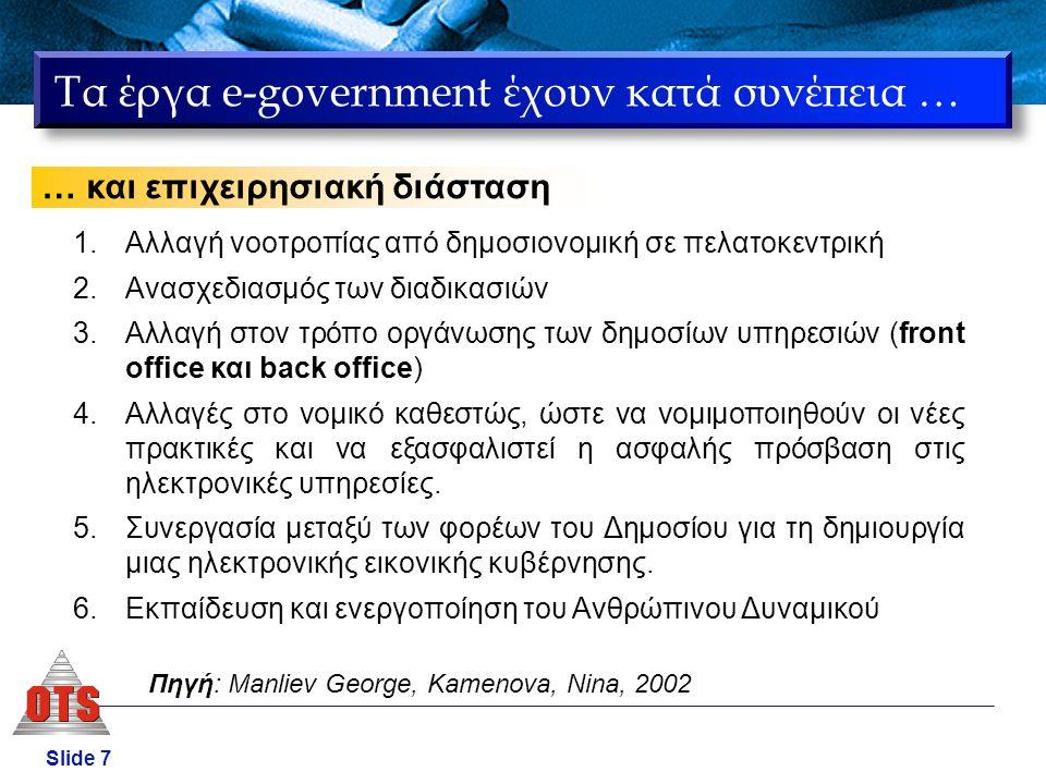Τα έργα e-government έχουν κατά συνέπεια …