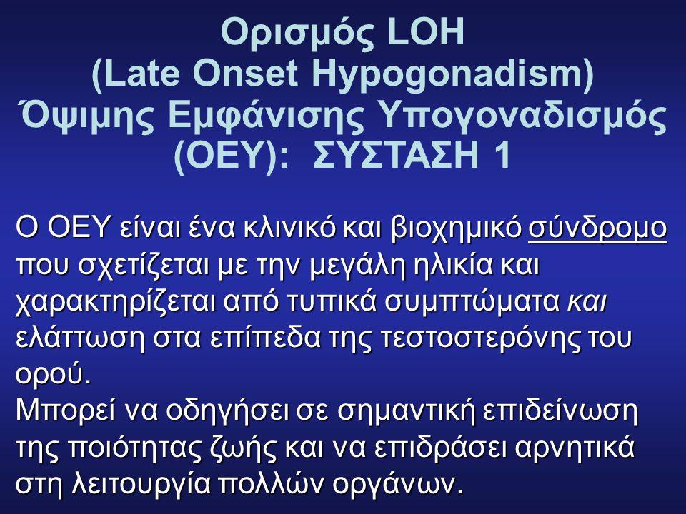 Ορισμός LOH (Late Onset Hypogonadism) Όψιμης Εμφάνισης Υπογοναδισμός (ΟΕΥ): ΣΥΣΤΑΣΗ 1