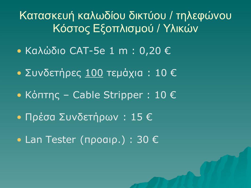 Κατασκευή καλωδίου δικτύου / τηλεφώνου Κόστος Εξοπλισμού / Υλικών