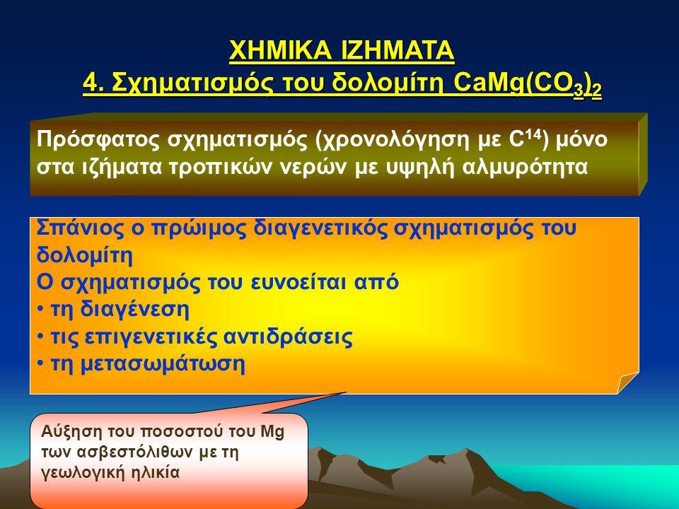 4. Σχηματισμός του δολομίτη CaMg(CO3)2