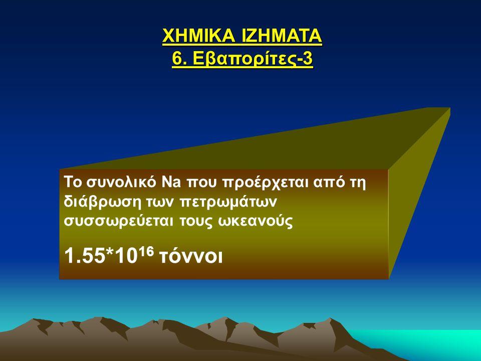 1.55*1016 τόννοι ΧΗΜΙΚΑ ΙΖΗΜΑΤΑ 6. Εβαπορίτες-3