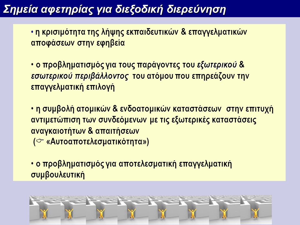 Σημεία αφετηρίας για διεξοδική διερεύνηση
