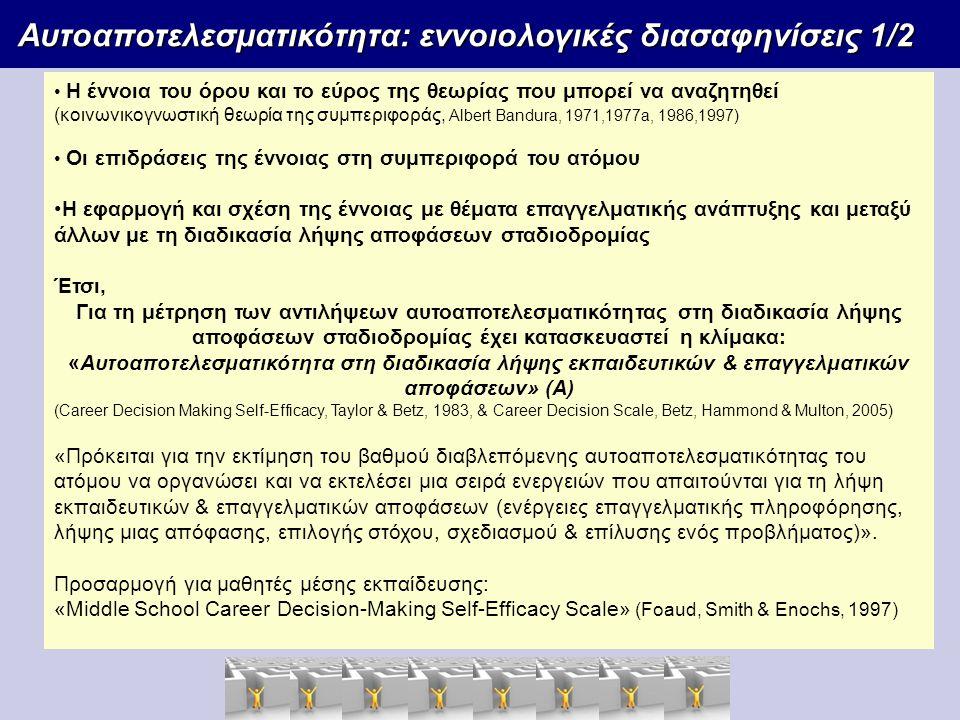 Αυτοαποτελεσματικότητα: εννοιολογικές διασαφηνίσεις 1/2