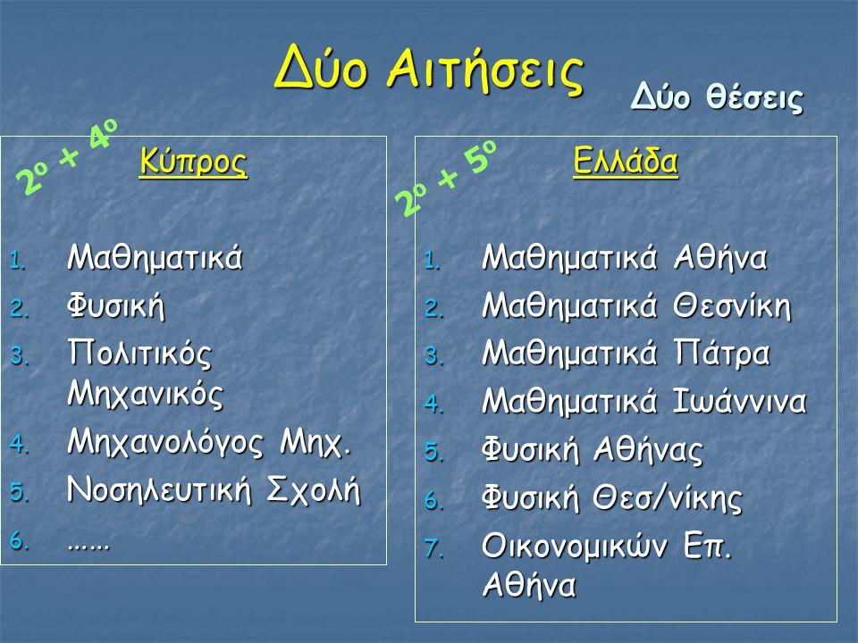 Δύο Αιτήσεις Δύο θέσεις 2ο + 4ο Κύπρος Μαθηματικά Φυσική