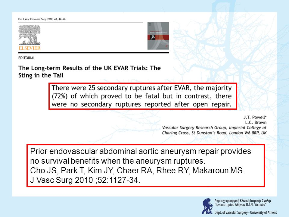 Prior endovascular abdominal aortic aneurysm repair provides no survival benefits when the aneurysm ruptures.