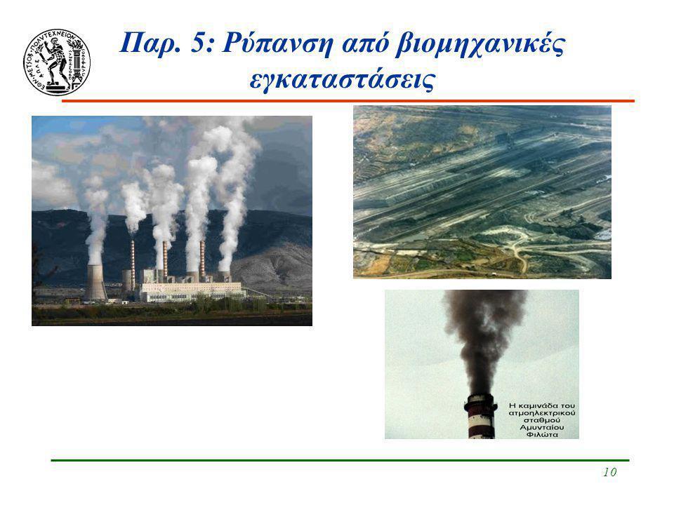 Παρ. 5: Ρύπανση από βιομηχανικές εγκαταστάσεις