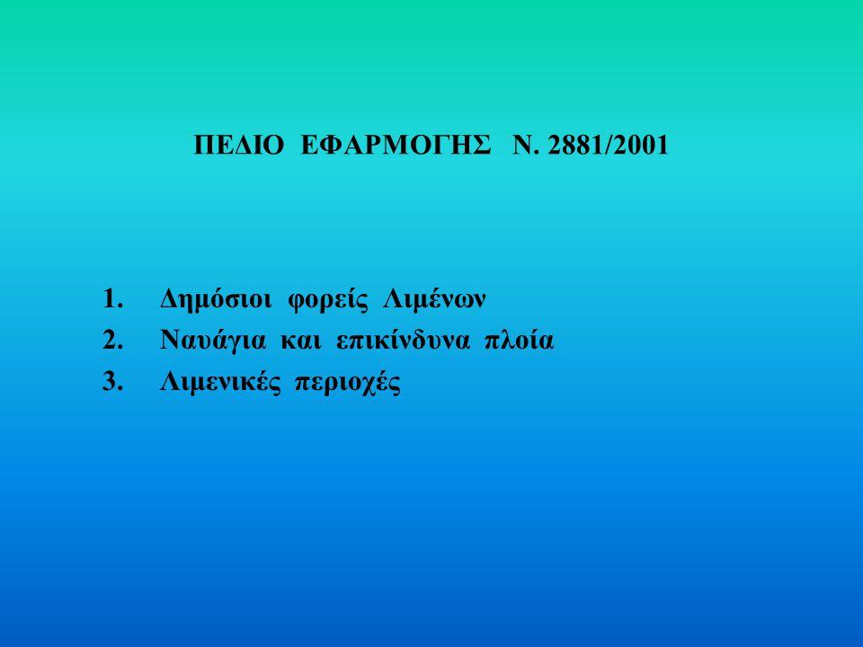 ΠΕΔΙΟ ΕΦΑΡΜΟΓΗΣ Ν. 2881/2001 1. Δημόσιοι φορείς Λιμένων