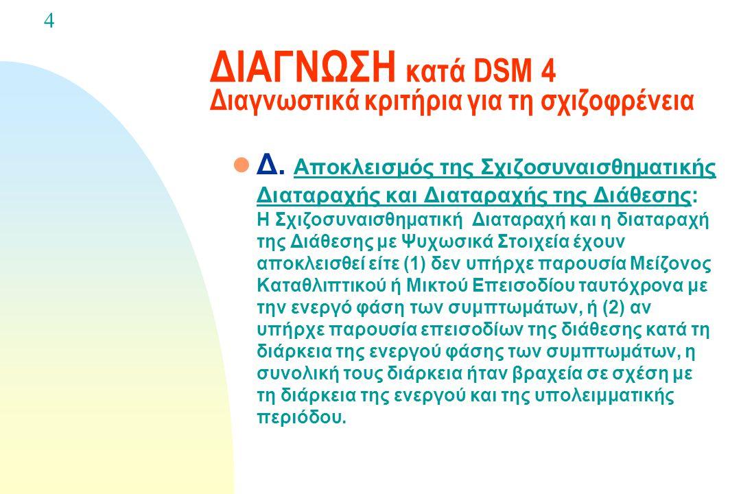 ΔΙΑΓΝΩΣΗ κατά DSM 4 Διαγνωστικά κριτήρια για τη σχιζοφρένεια