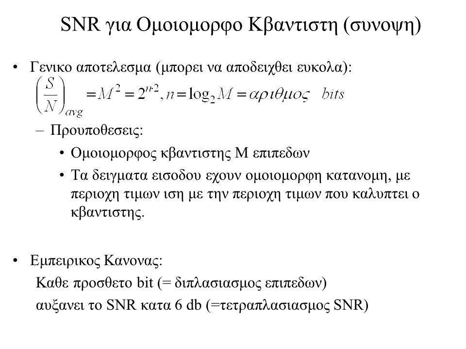 SNR για Ομοιομορφο Κβαντιστη (συνοψη)