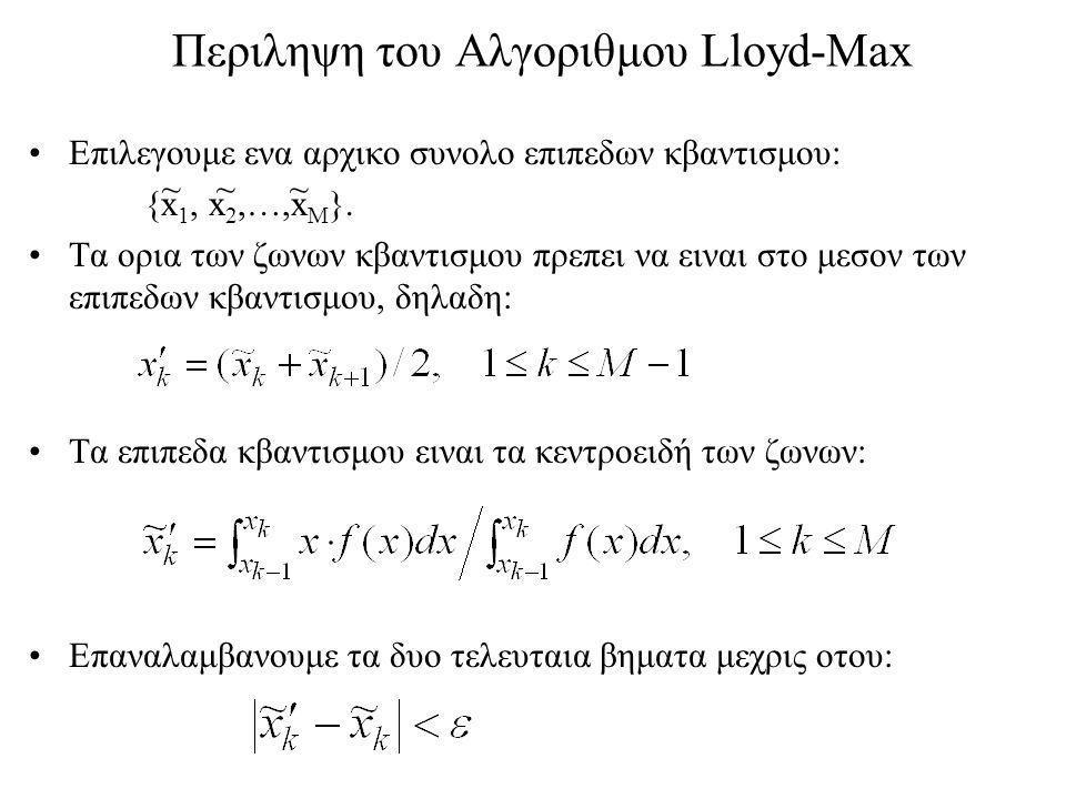 Περιληψη του Αλγοριθμου Lloyd-Max