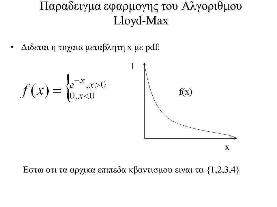 Παραδειγμα εφαρμογης του Αλγοριθμου Lloyd-Max