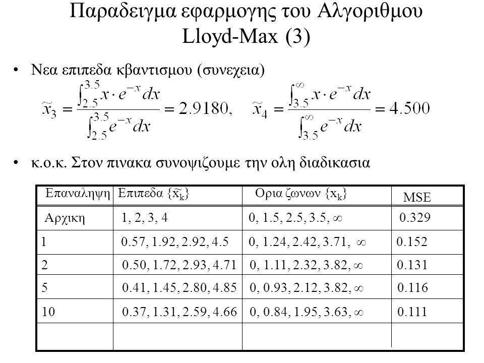 Παραδειγμα εφαρμογης του Αλγοριθμου Lloyd-Max (3)