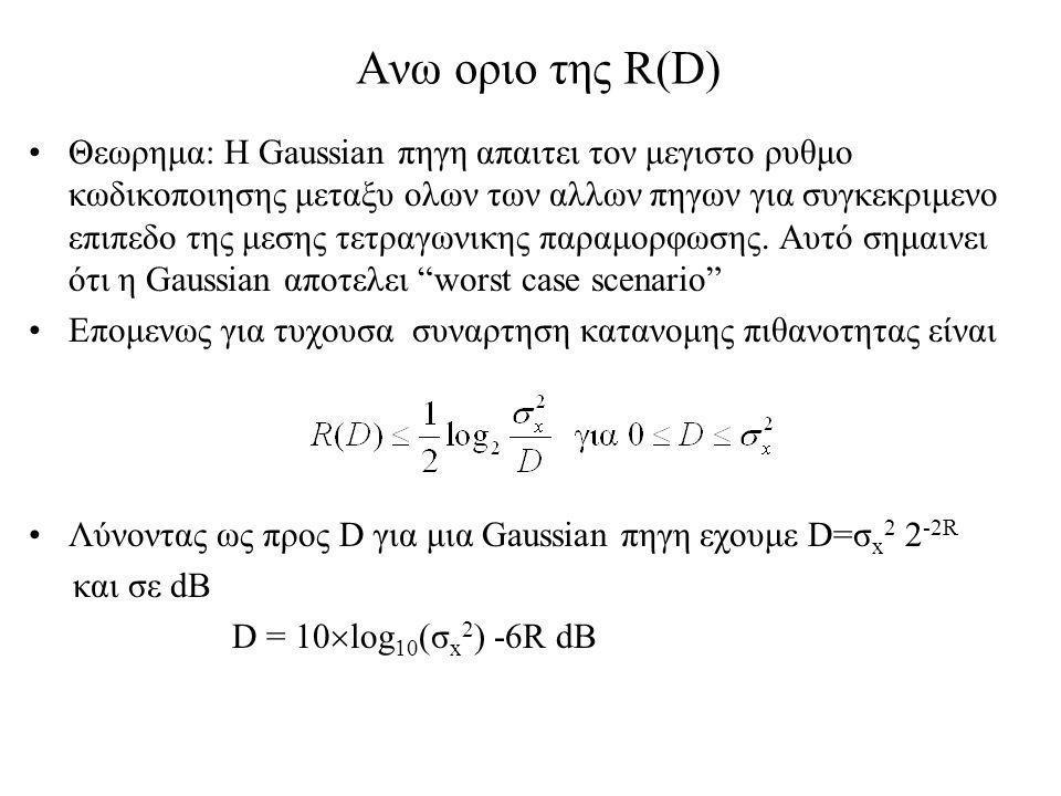 Ανω οριο της R(D)