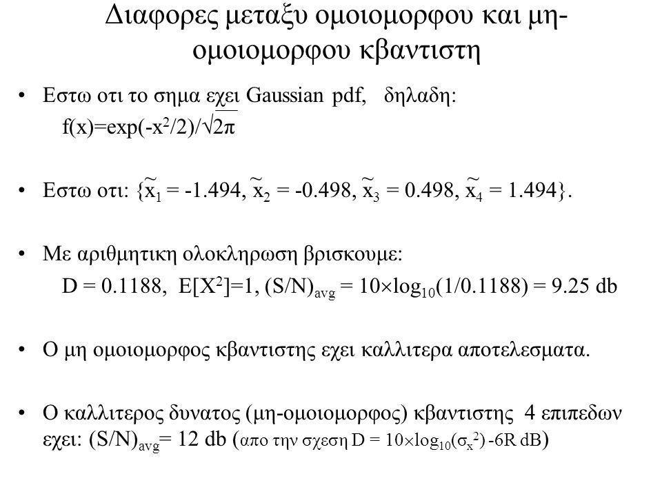 Διαφορες μεταξυ ομοιομορφου και μη-ομοιομορφου κβαντιστη