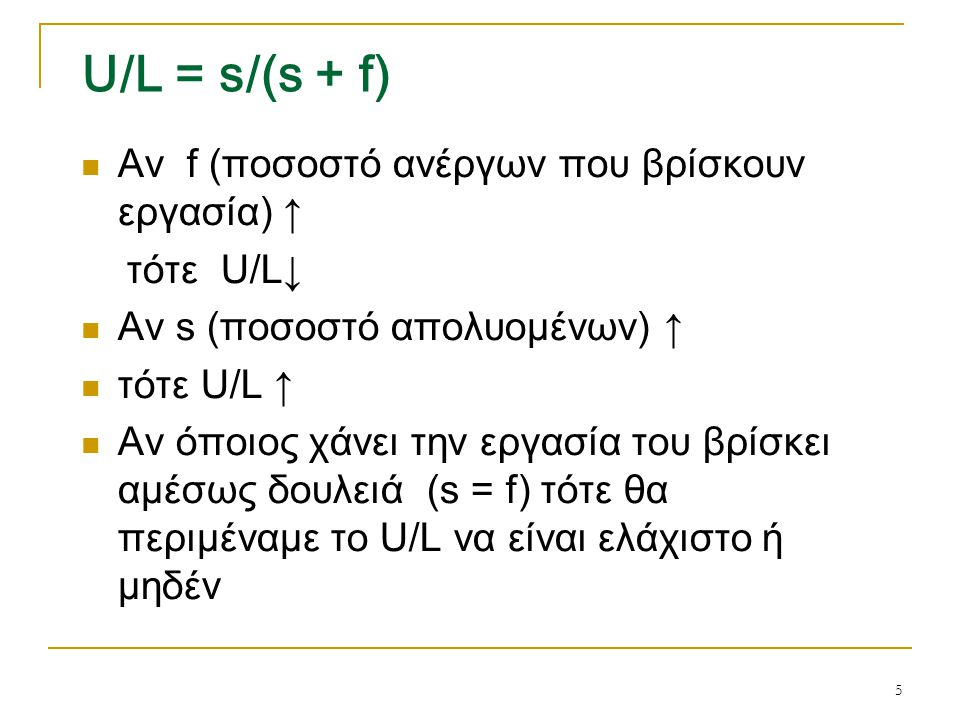 U/L = s/(s + f) Αν f (ποσοστό ανέργων που βρίσκουν εργασία) ↑