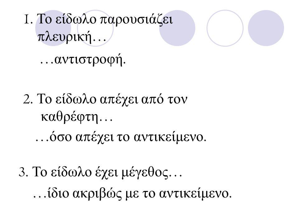 1. Το είδωλο παρουσιάζει πλευρική… …αντιστροφή. 2. Το είδωλο απέχει από τον. καθρέφτη… …όσο απέχει το αντικείμενο.