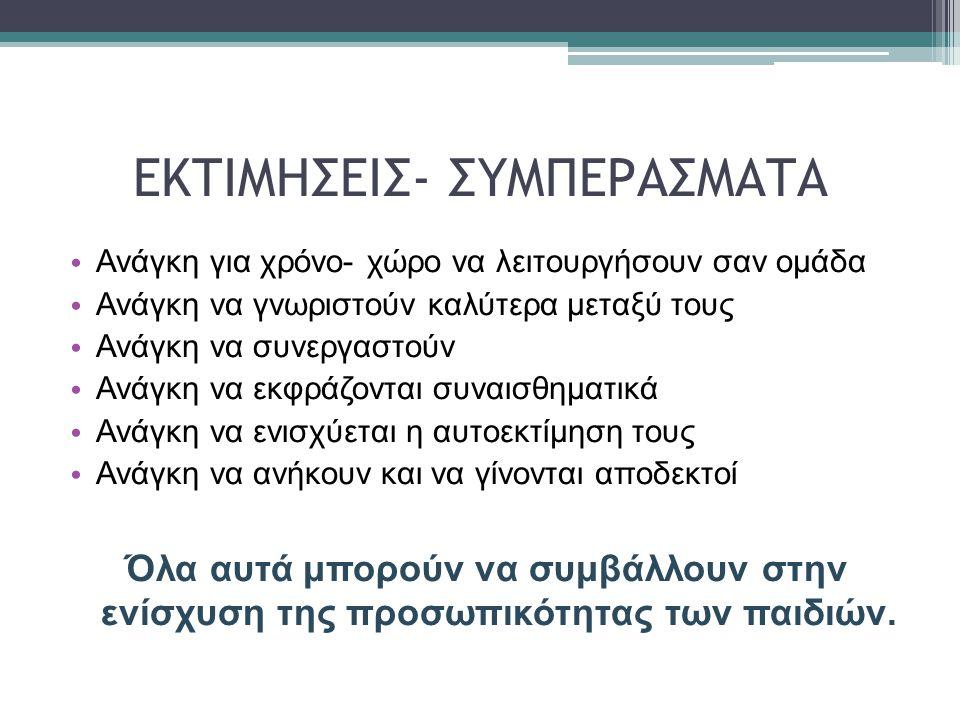 ΕΚΤΙΜΗΣΕΙΣ- ΣΥΜΠΕΡΑΣΜΑΤΑ
