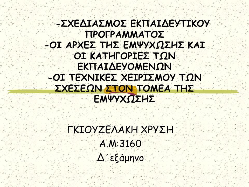 ΓΚΙΟΥΖΕΛΑΚΗ ΧΡΥΣΗ Α.Μ:3160 Δ΄εξάμηνο