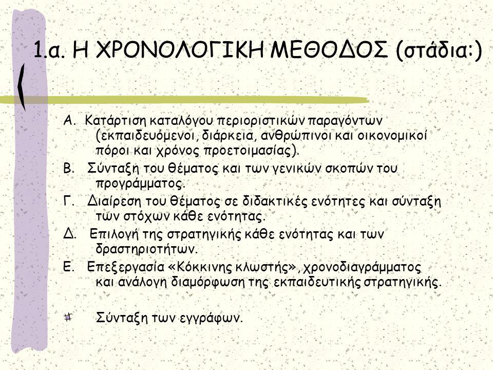 1.α. Η ΧΡΟΝΟΛΟΓΙΚΗ ΜΕΘΟΔΟΣ (στάδια:)