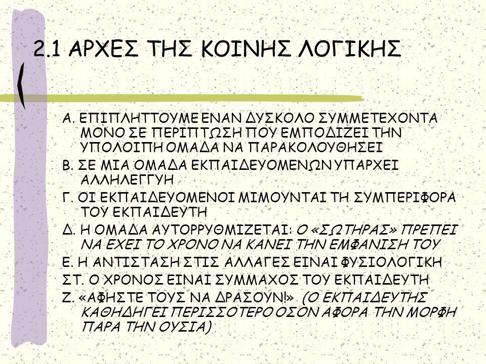 2.1 ΑΡΧΕΣ ΤΗΣ ΚΟΙΝΗΣ ΛΟΓΙΚΗΣ