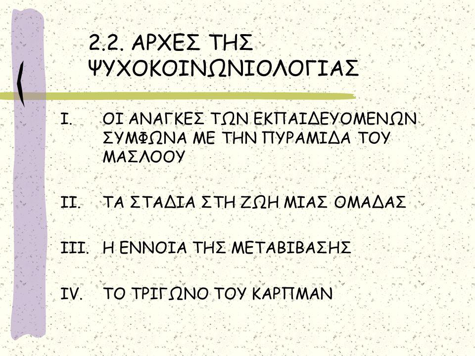 2.2. ΑΡΧΕΣ ΤΗΣ ΨΥΧΟΚΟΙΝΩΝΙΟΛΟΓΙΑΣ