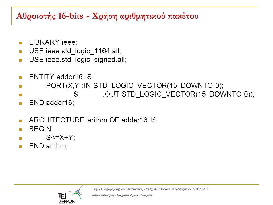 Aθροιστής 16-bits - Χρήση αριθμητικού πακέτου