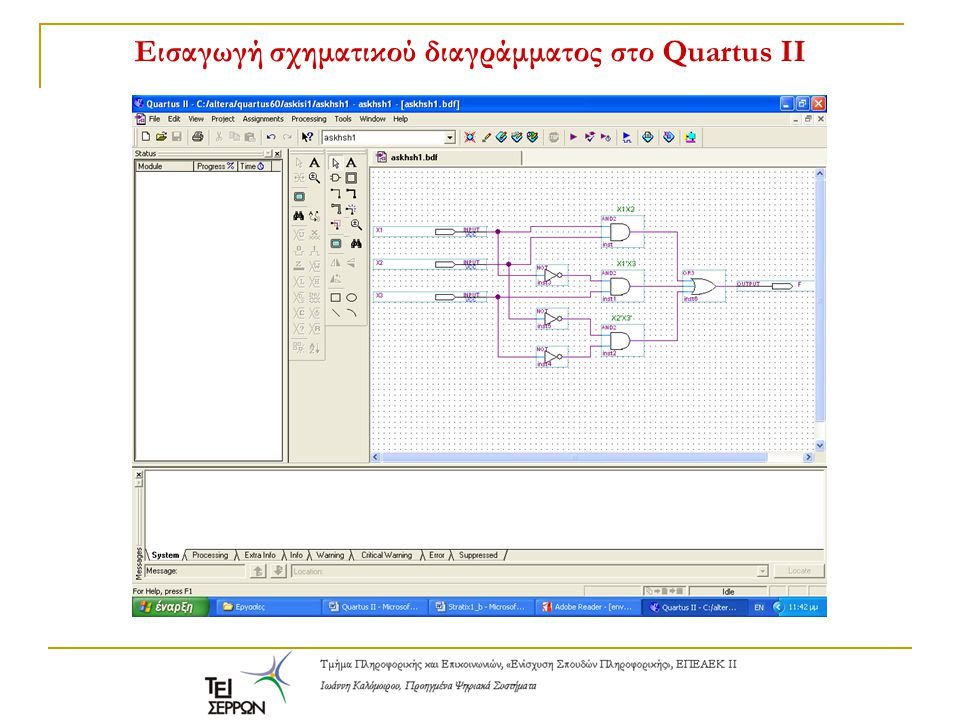 Εισαγωγή σχηματικού διαγράμματος στο Quartus II
