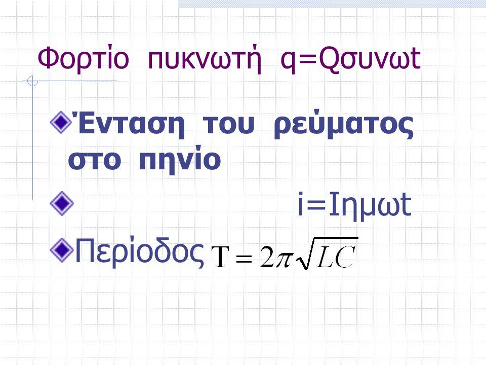 Φορτίο πυκνωτή q=Qσυνωt