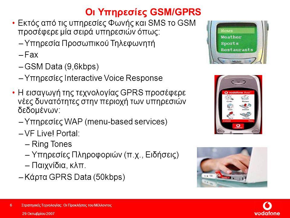 Οι Υπηρεσίες GSM/GPRS Εκτός από τις υπηρεσίες Φωνής και SMS το GSM προσέφερε μία σειρά υπηρεσιών όπως: