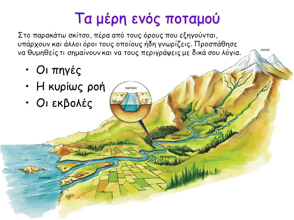 Τα μέρη ενός ποταμού Οι πηγές Η κυρίως ροή Οι εκβολές
