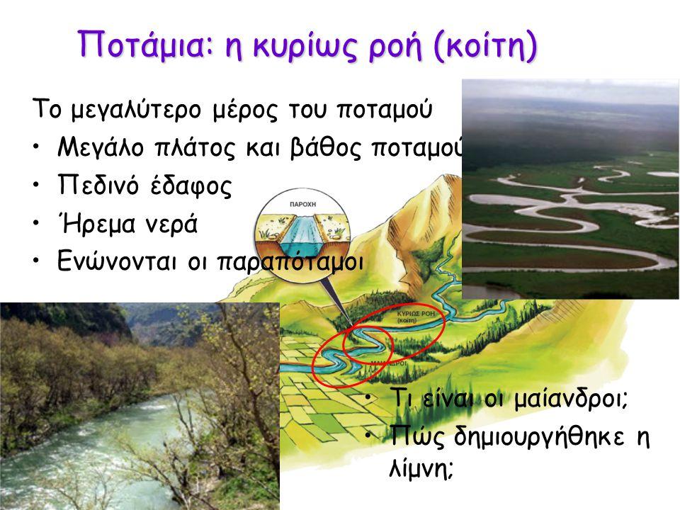 Ποτάμια: η κυρίως ροή (κοίτη)