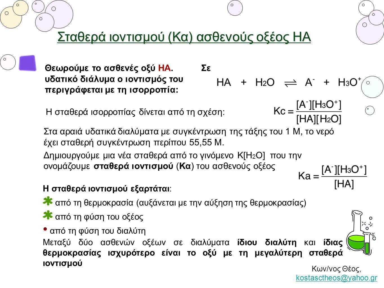 Σταθερά ιοντισμού (Κα) ασθενούς οξέος ΗΑ