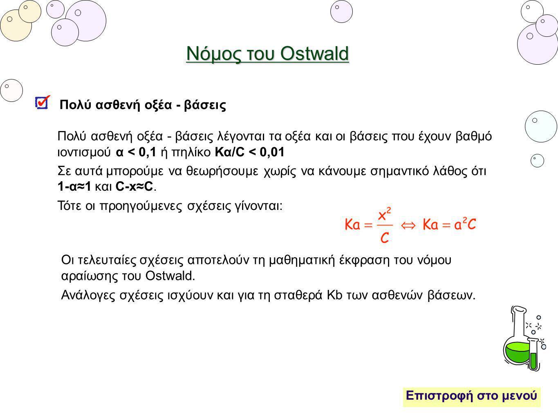 Νόμος του Ostwald Πολύ ασθενή οξέα - βάσεις