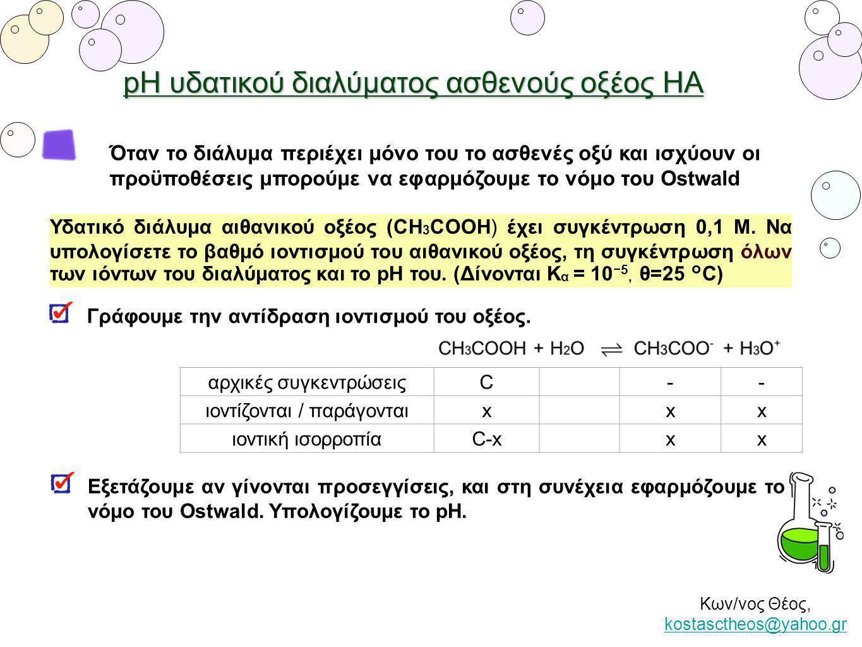 pH υδατικού διαλύματος ασθενούς οξέος ΗΑ