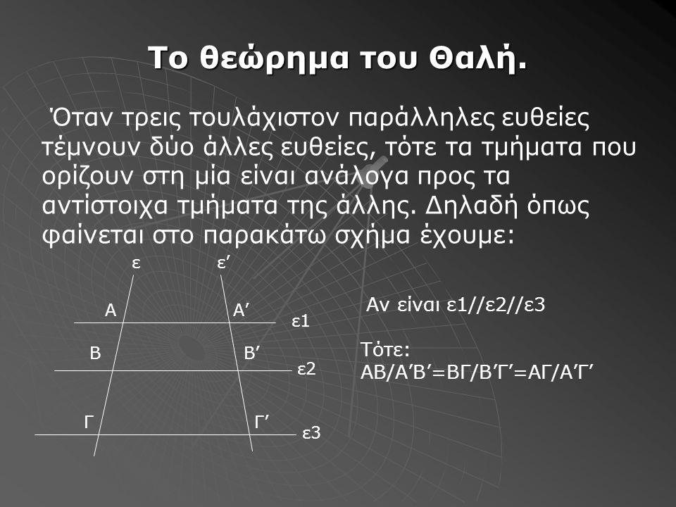 Το θεώρημα του Θαλή.