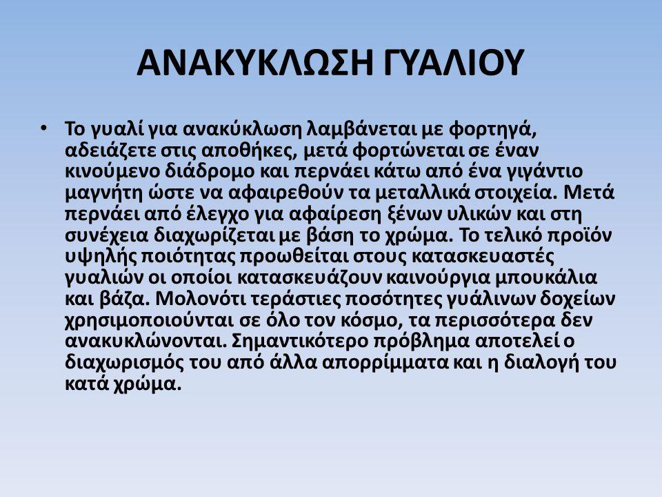 ΑΝΑΚΥΚΛΩΣΗ ΓΥΑΛΙΟΥ