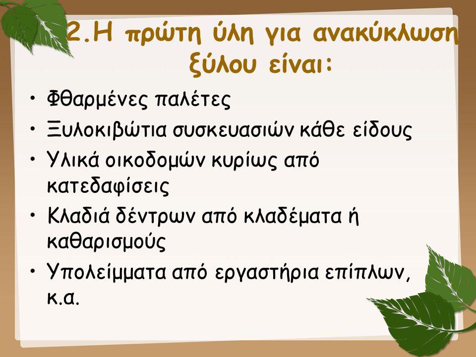 2.Η πρώτη ύλη για ανακύκλωση ξύλου είναι:
