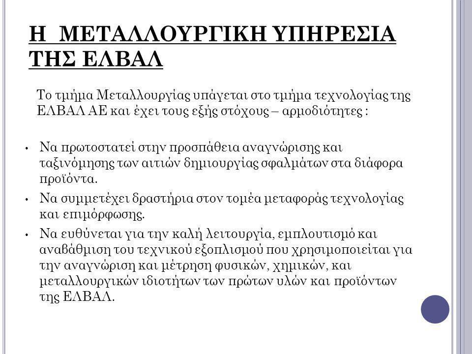Η ΜΕΤΑΛΛΟΥΡΓΙΚΗ ΥΠΗΡΕΣΙΑ ΤΗΣ ΕΛΒΑΛ