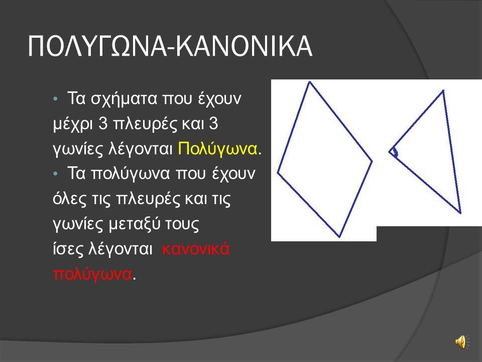 ΠΟΛΥΓΩΝΑ-ΚΑΝΟΝΙΚΑ Τα σχήματα που έχουν μέχρι 3 πλευρές και 3