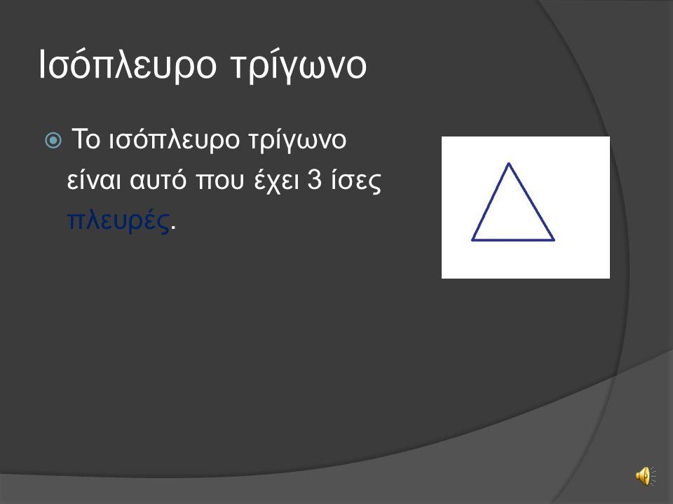 Ισόπλευρο τρίγωνο Το ισόπλευρο τρίγωνο είναι αυτό που έχει 3 ίσες