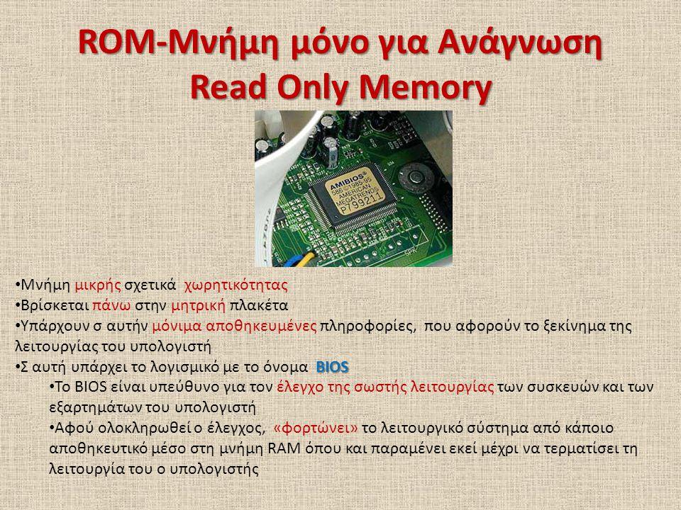 ROM-Μνήμη μόνο για Ανάγνωση Read Only Memory