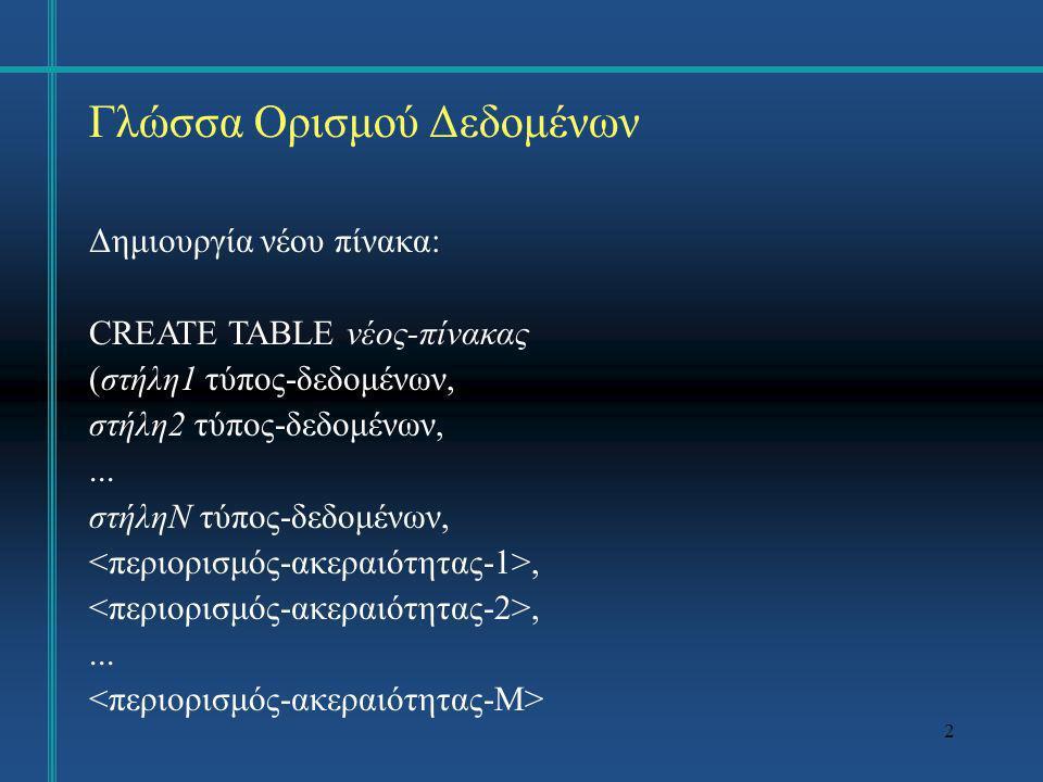 Γλώσσα Ορισμού Δεδομένων