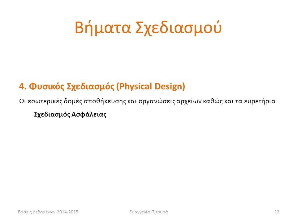 Βήματα Σχεδιασμού 4. Φυσικός Σχεδιασμός (Physical Design)