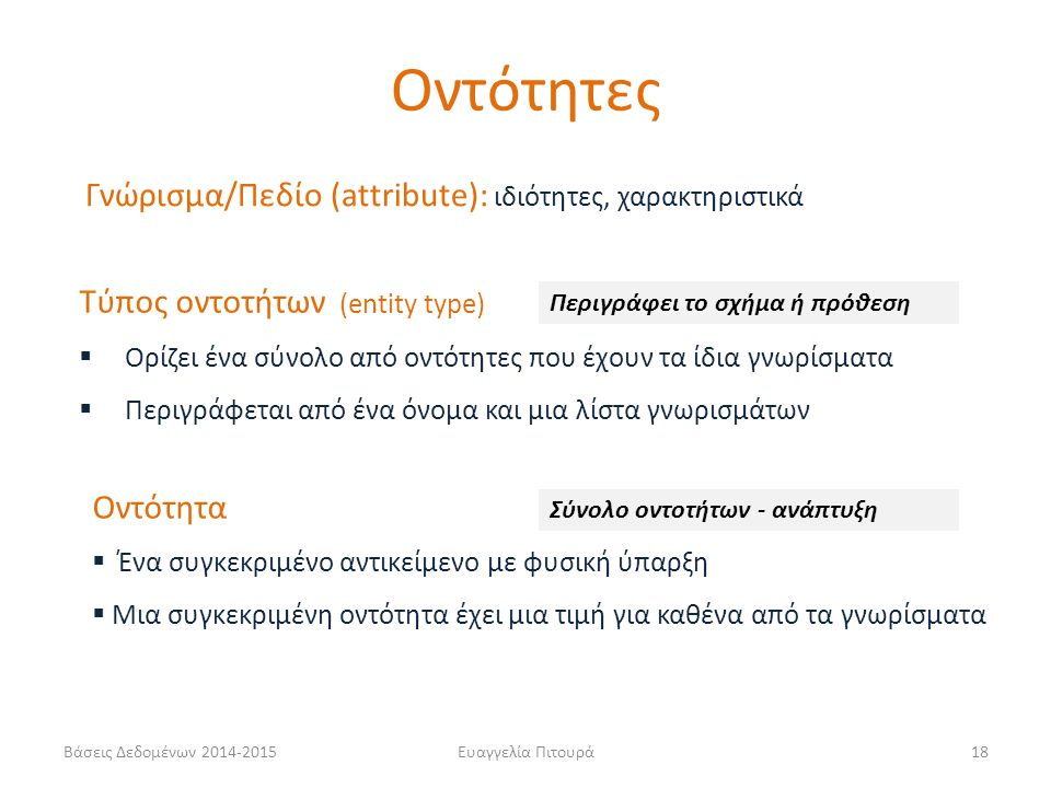 Οντότητες Γνώρισμα/Πεδίο (attribute): ιδιότητες, χαρακτηριστικά