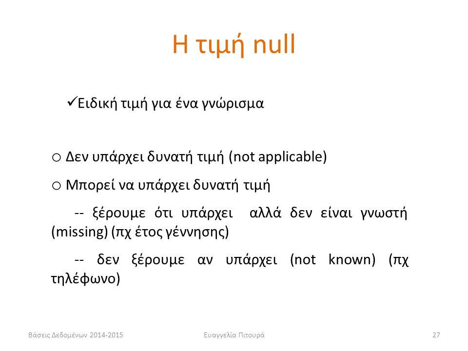 Η τιμή null Ειδική τιμή για ένα γνώρισμα