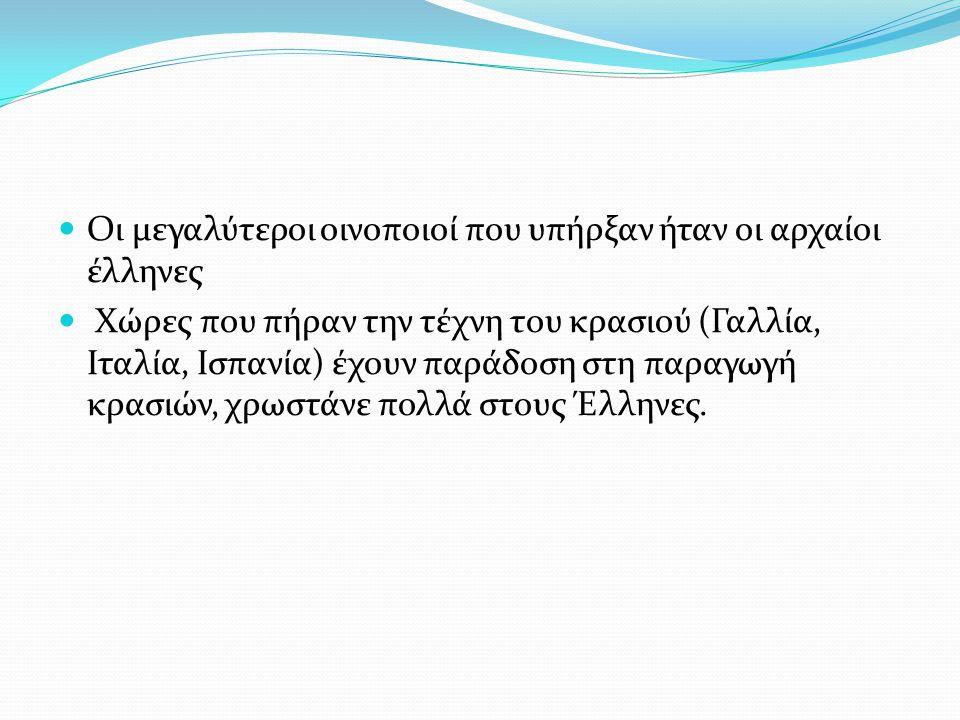 Οι μεγαλύτεροι οινοποιοί που υπήρξαν ήταν οι αρχαίοι έλληνες